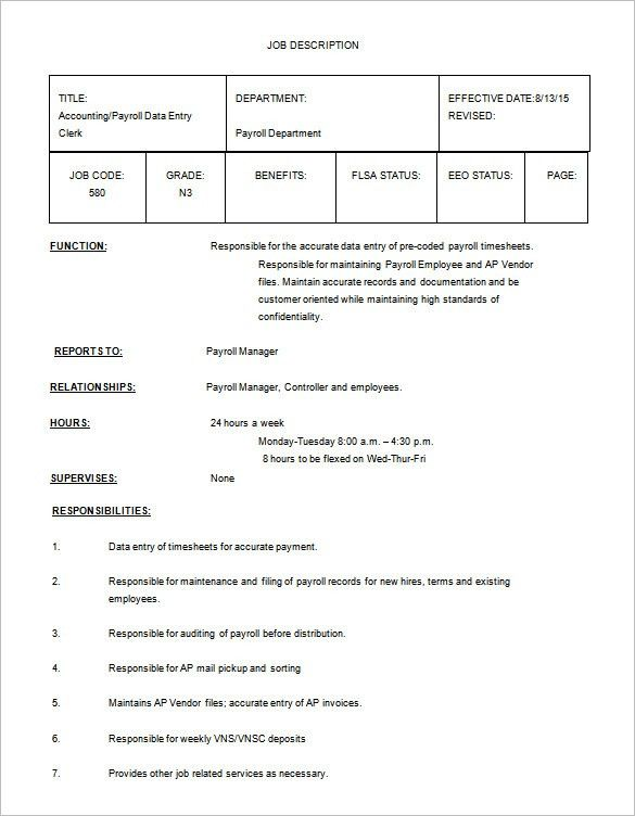 Data Entry Job Description Template – 9+ Free Word, PDF Format ...