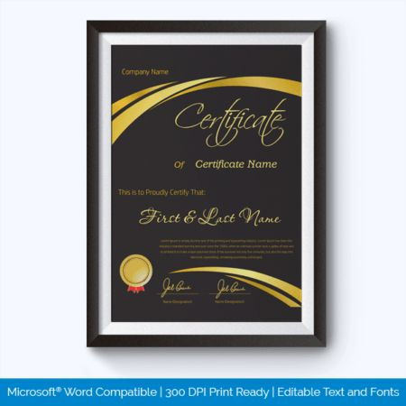 Award of Honor Certificate Templates - Word Layouts