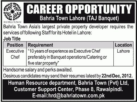 Executive Chef job, Bahria Town Lahore Job, Taj Banquet hotel ...