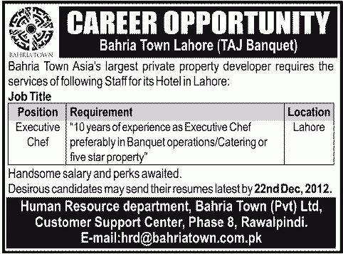 Executive Chef Job, Bahria Town Lahore Job, Taj Banquet Hotel .