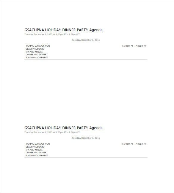 10+ Party Agenda Templates – Free Sample, Example, Format Download ...