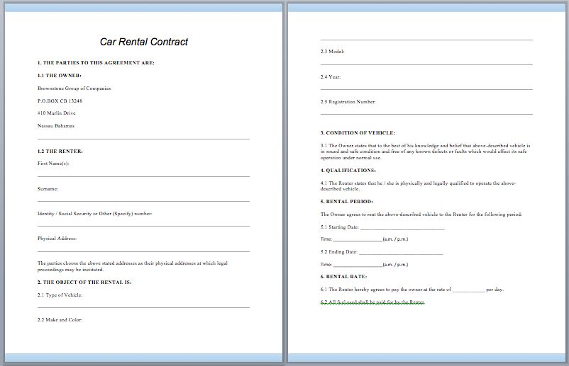Car Rental Contract Template – ContractGuru