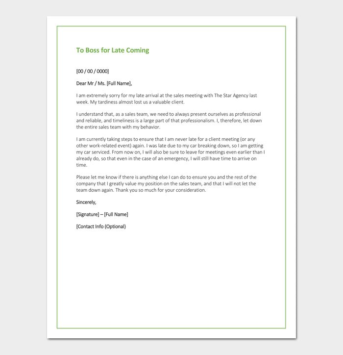 Apology Letter To Boss - 7+ Samples & Blank Formats