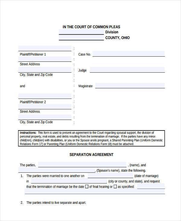 7+ Separation Agreement Form Samples - Free Sample, Example Format ...