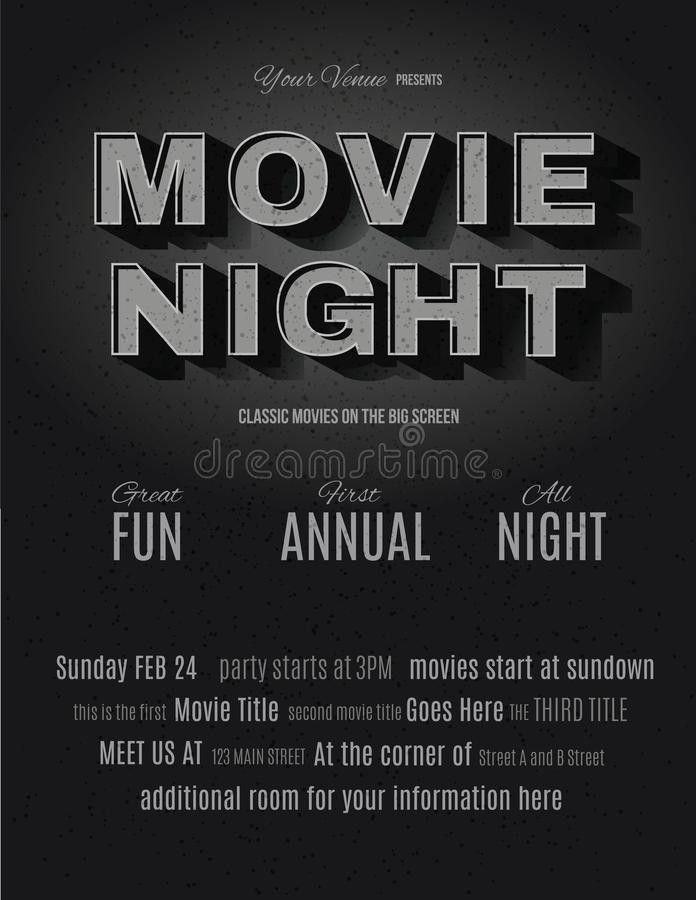 Vintage Movie Night Invitation Template Stock Vector - Image: 50705754