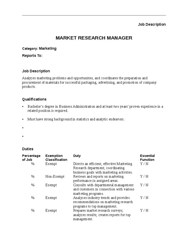 Market Research Manager Job Description - Hashdoc