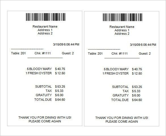 Sample Receipt Template – 6+ Free Word, Excel, PDF Format Download ...