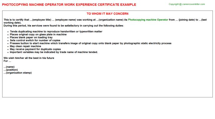 Photocopying Machine Operator Work Experience Certificate
