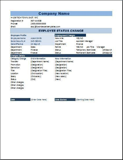 Employee Status change Form Template | Word & Excel Templates