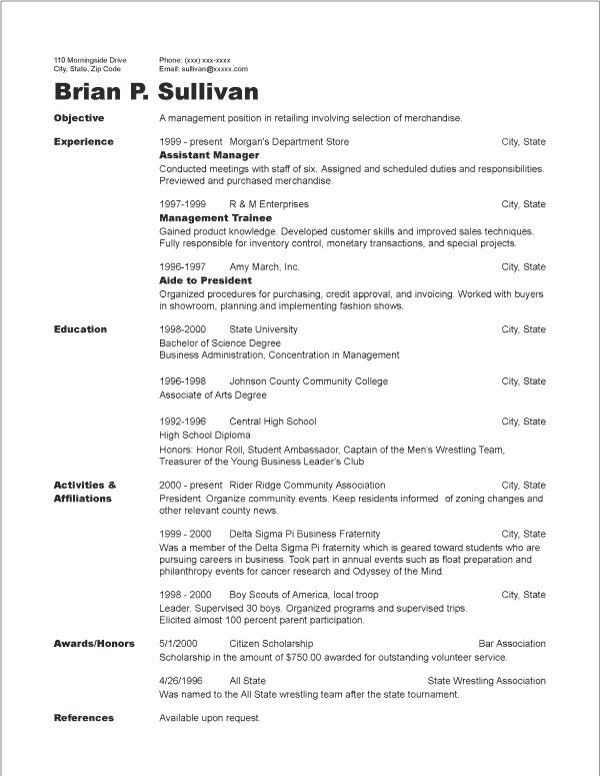 Chronological Resume Sample - http://jobresumesample.com/1310 ...