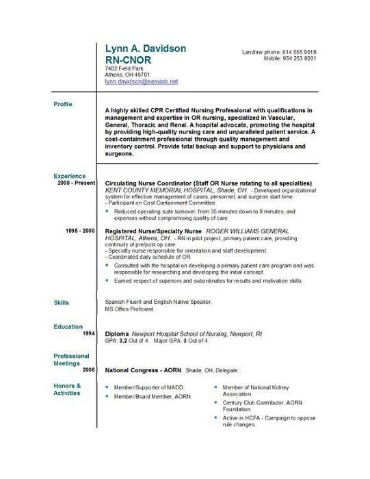 free registered nurse resume 12345. nursing resume objective ...