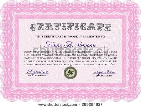 Vector Illustration Pink Horizontal Certificate Diploma Stock ...