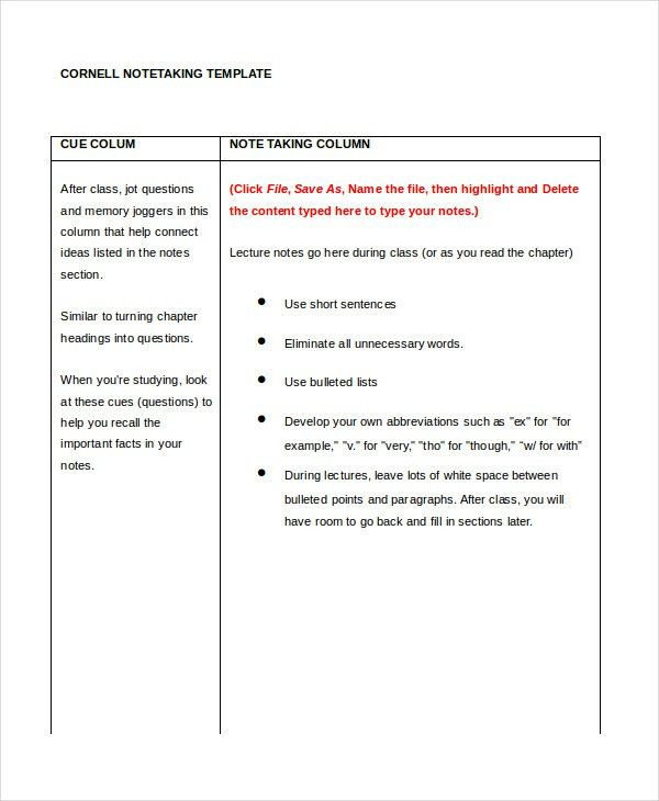 Cornell Notes Template - 9+ Free Word, PDF Documents Download ...