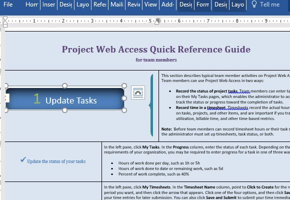 Project Web Access Reference Template For Word