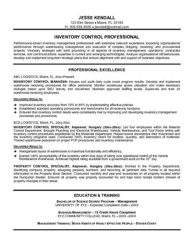 inventory resume samples cover letter manufacturing resume sample ...