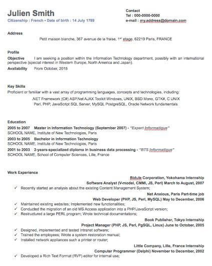 One Column Professional Resume Template | Free iWork Templates