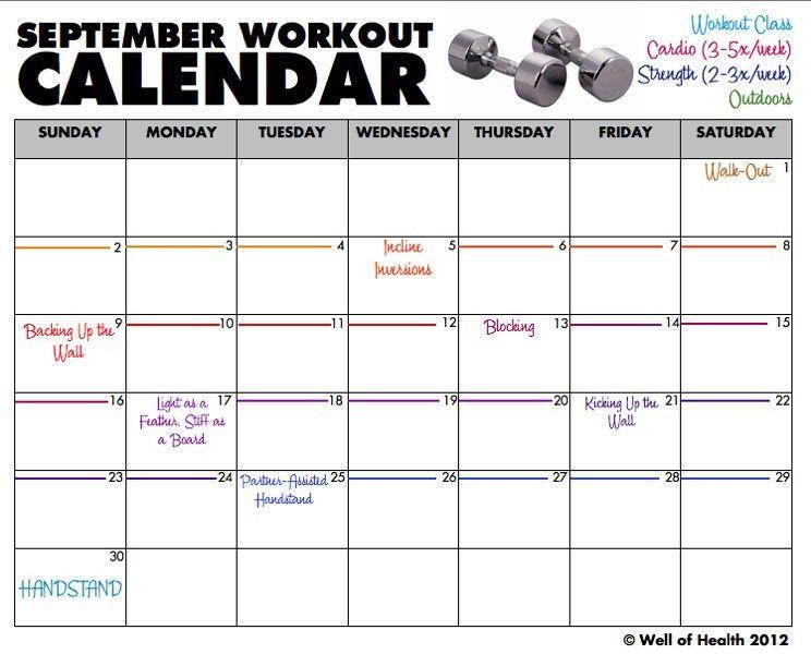 Workout Calendar Template. Motivational Calendar Template Workout ...