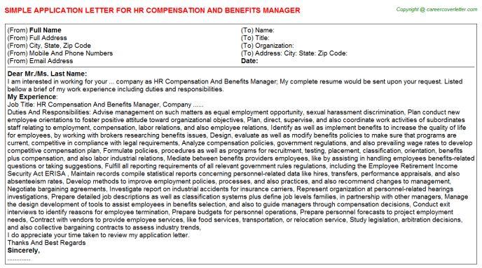 Benefits Supervisor Cover Letter