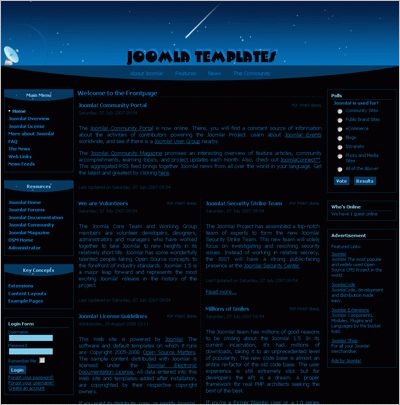 Blue Space Joomla 1.5x Flash template - Free and commercial high ...
