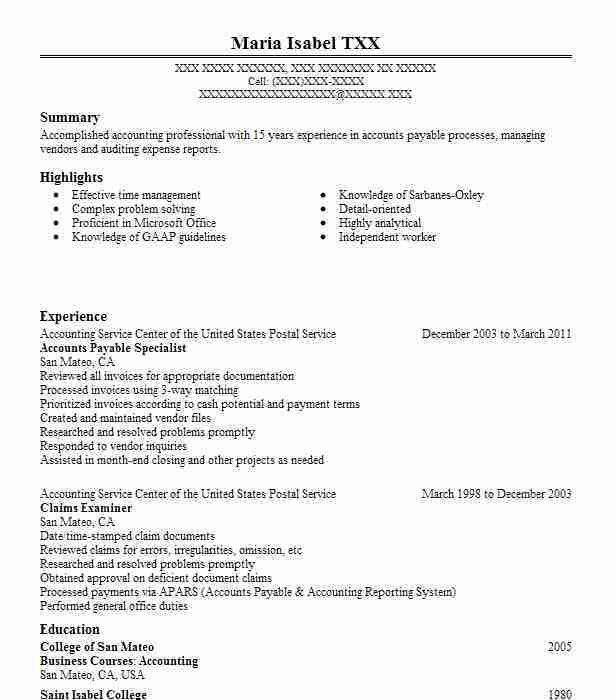Best Accounts Payable Specialist Resume Example | LiveCareer