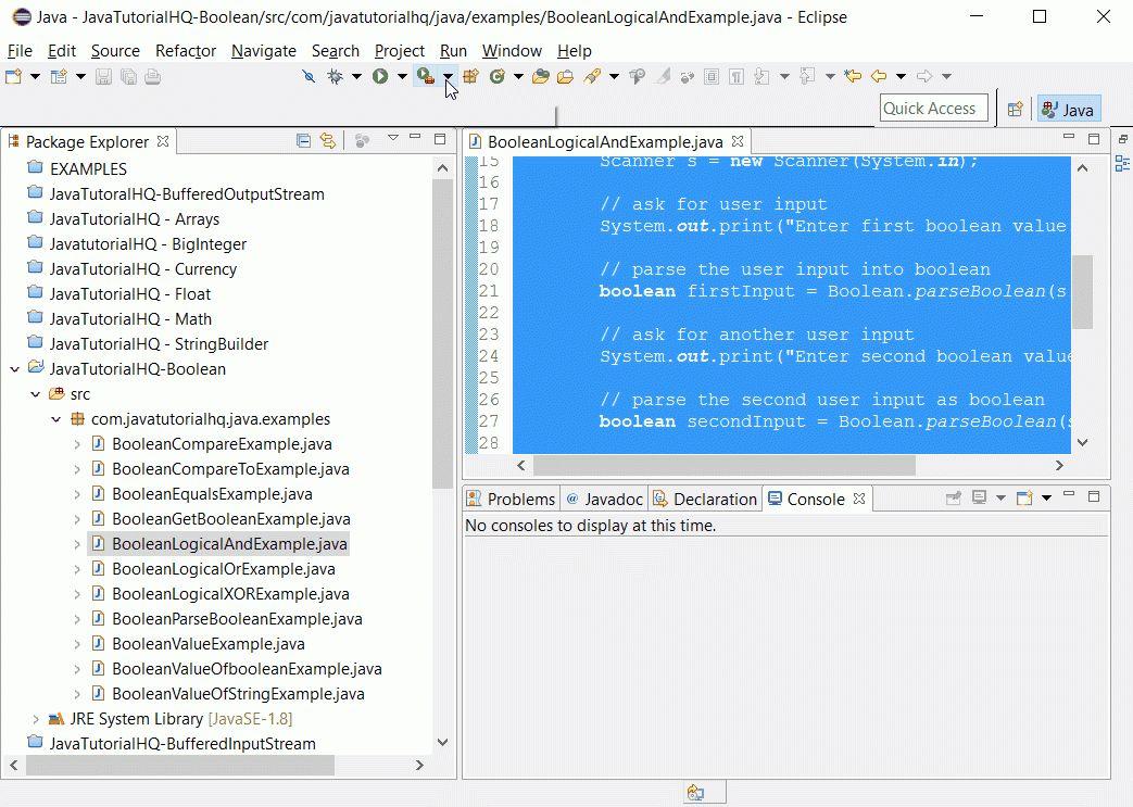 Java Boolean logicalAnd() method example