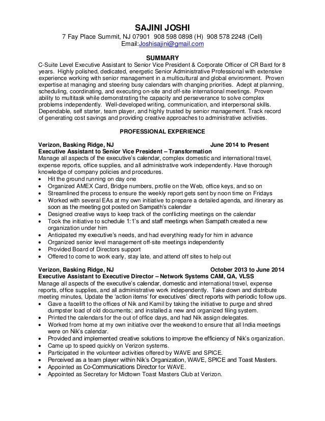 C-Suite Executive Assistant Resume November 2015