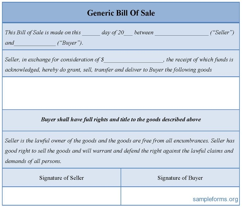 Sample Generic Bill Of Sale Form | Sample Forms
