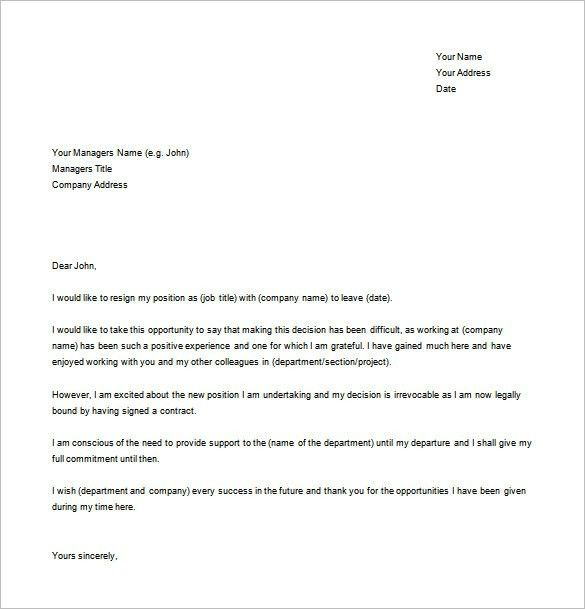 Resignation Sample Letters Simple Letter Of Resignation Template ...