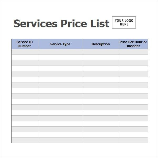Sample Price List Template - 5+ Documents Download in PDF, Word, Excel