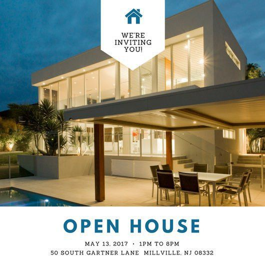 White Block Photo Open House Invitation - Templates by Canva