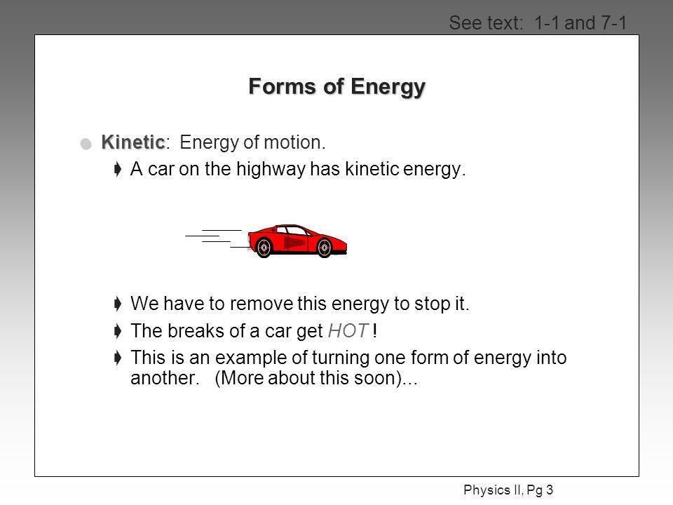 Physics II, Pg 1 Physics II Today's Agenda l Work & Energy ...
