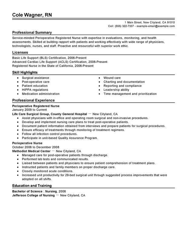 Unforgettable Perioperative Nurse Resume Examples to Stand Out ...