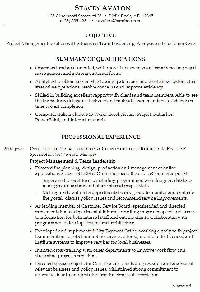 Resume for Project Management - Susan Ireland Resumes