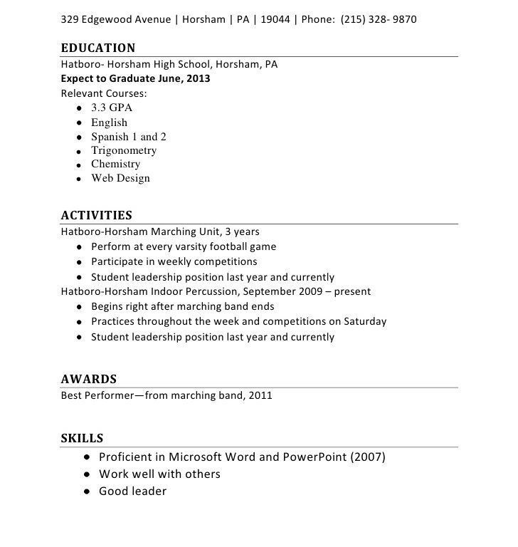 Resume Builder For First Job. 7 first time job resume examples ...