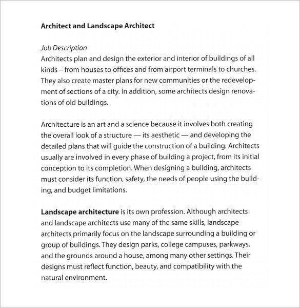 Architect Job Description Template – 10+ Free Word, PDF Format ...