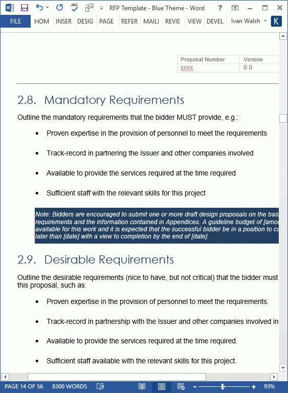 NEW] Request For Proposal (RFP) Templates