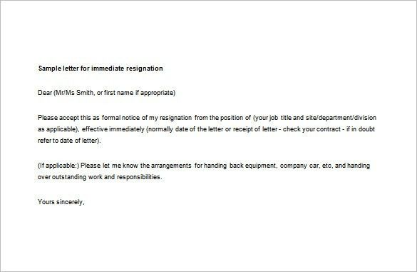 7+ Immediate Resignation Letter Templates - Free Sample, Example ...