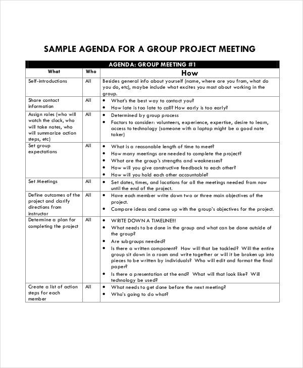 Project Agenda Template- 6+ Free Word, PDF Documents Download ...