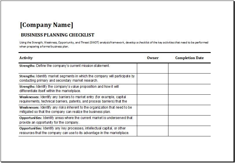 MS Excel Business Planning Checklist Template | Excel Templates