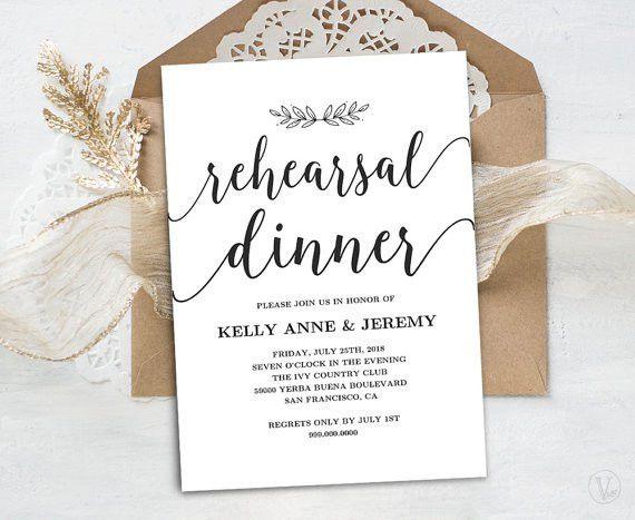 Rehearsal Dinner Invitation, Rehearsal Dinner Card Template ...