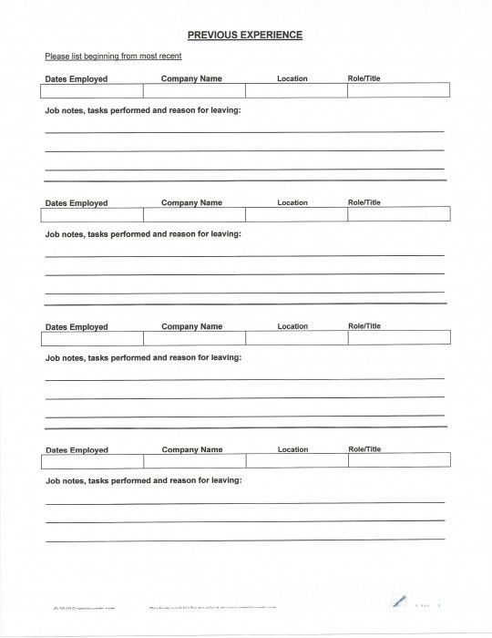 How To Fill Out A Resume 5 How Fill Out Blank Resume Forms ...