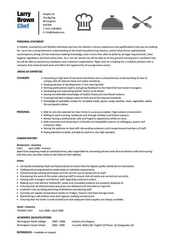 sample of chef resumes