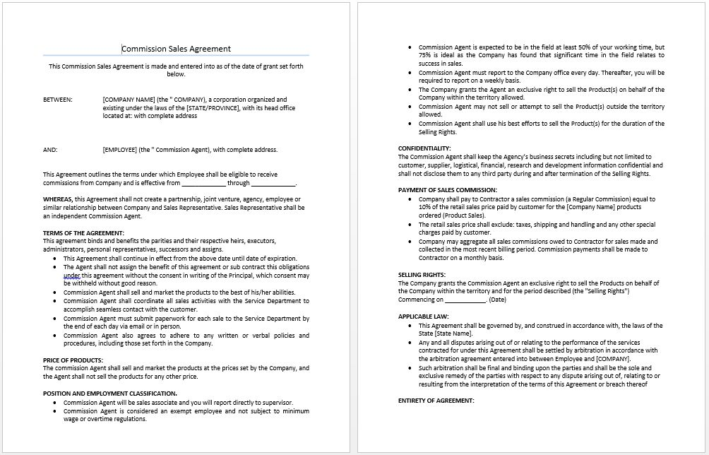 Commission Sales Agreement Template | Microsoft Word Templates