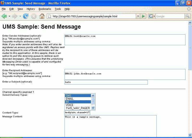 Sending and Receiving Messages using the User Messaging Service ...