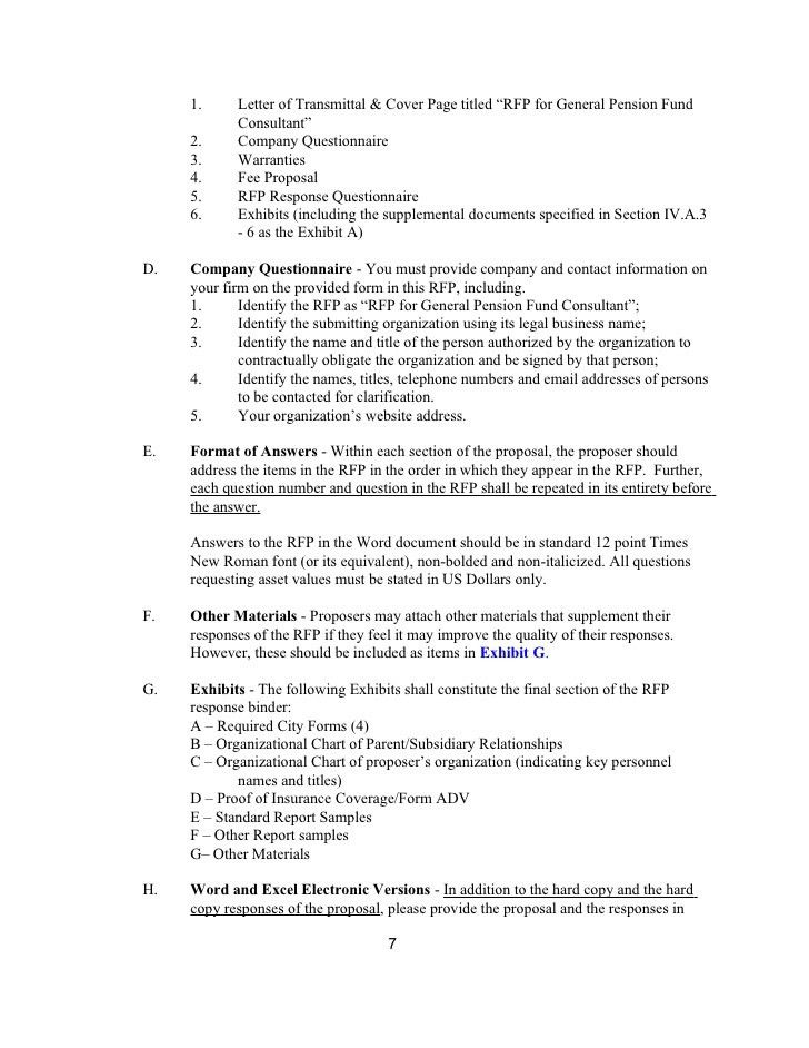 Entire RFP document