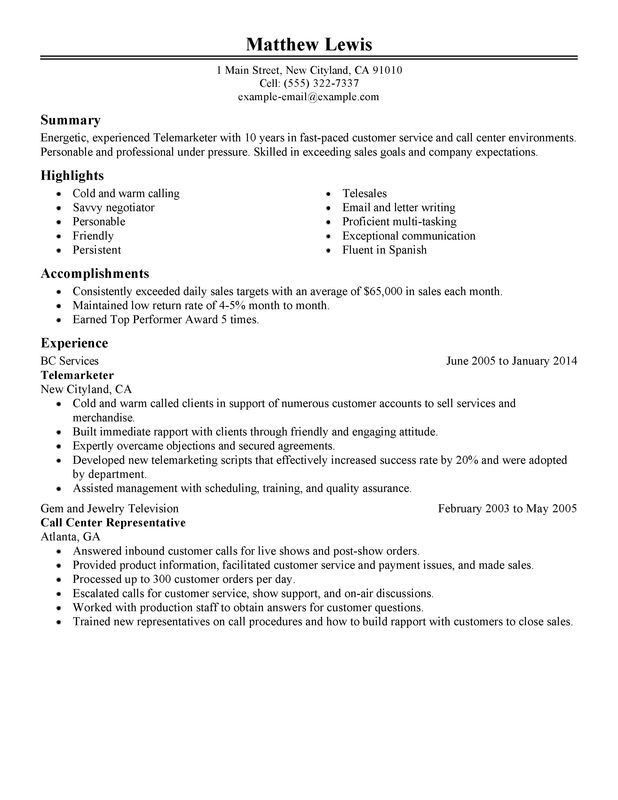 Unforgettable Experienced Telemarketer Resume Examples to Stand ...