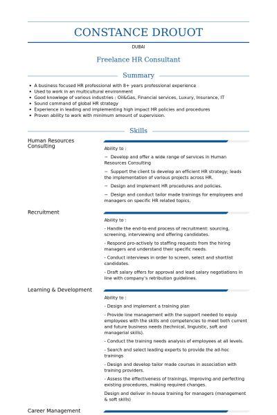 Hr Consultant Resume samples - VisualCV resume samples database