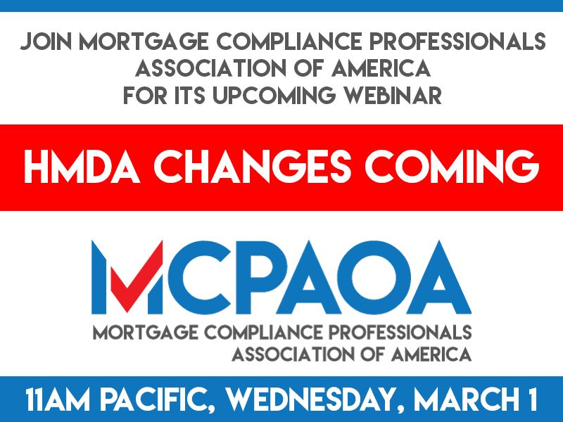 Sign Up for Webinar: HMDA Changes Coming – MCPAOA – Mortgage ...