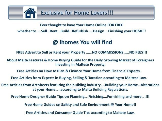 Welcome @ www.ihomes.com.mt ...Free Property for Sale Adverts!