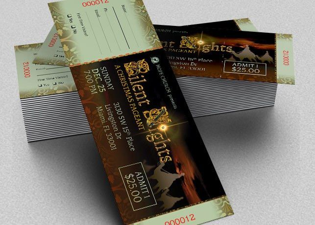 Silent Night Christmas Ticket Template | Inspiks Market